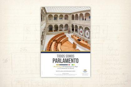 imagen gráfica. Todos somos Parlamento. cartel. Parlamento de La Rioja.