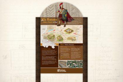 señalización medioambiental. Vía Romana. panel interpretativo. Gobierno de La Rioja.
