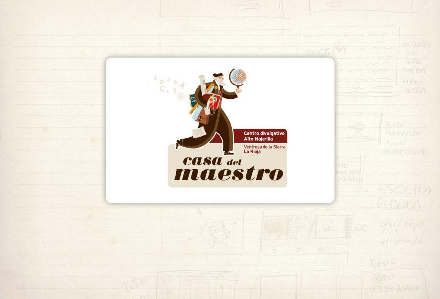 Logotipo. Casa del maestro. Vía, Medioambiente y Cultura. Centro de interpretación. Ilustración: José María Lema. Ventrosa de La Sierra. La rioja