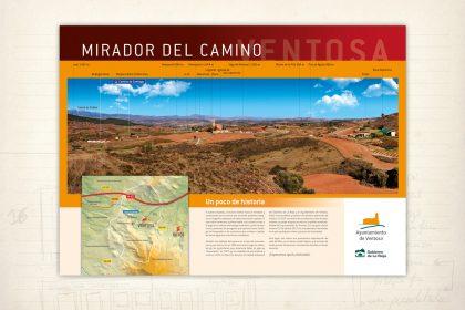 señalización medioambiental. Panel Ventosa. La Rioja. Mirador del Camino