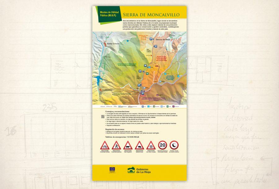 señalización medioambiental. Sierra de Moncalvillo. panel informativo. acotado de setas. Gobierno de La Rioja