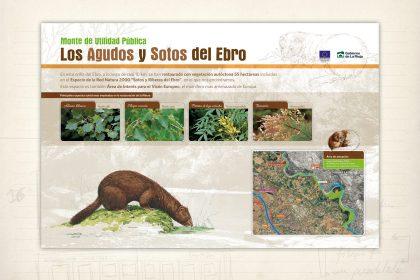 señalización medioambiental. Panel informativo. Los agudos y sotos del Ebro. Gobierno de La Rioja